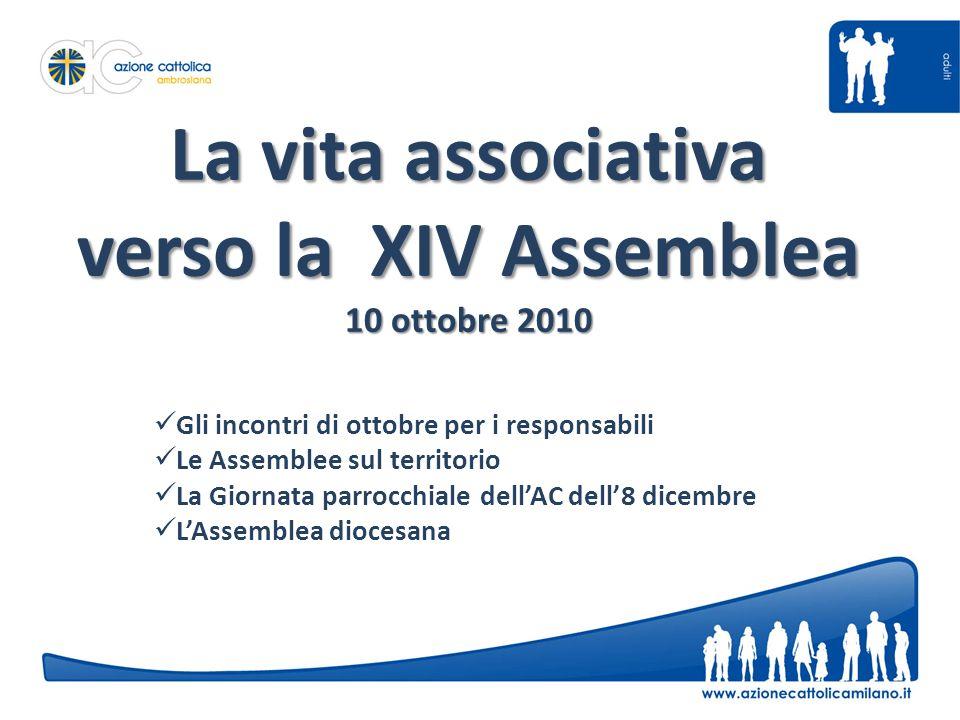 La vita associativa verso la XIV Assemblea 10 ottobre 2010 Gli incontri di ottobre per i responsabili Le Assemblee sul territorio La Giornata parrocchiale dellAC dell8 dicembre LAssemblea diocesana
