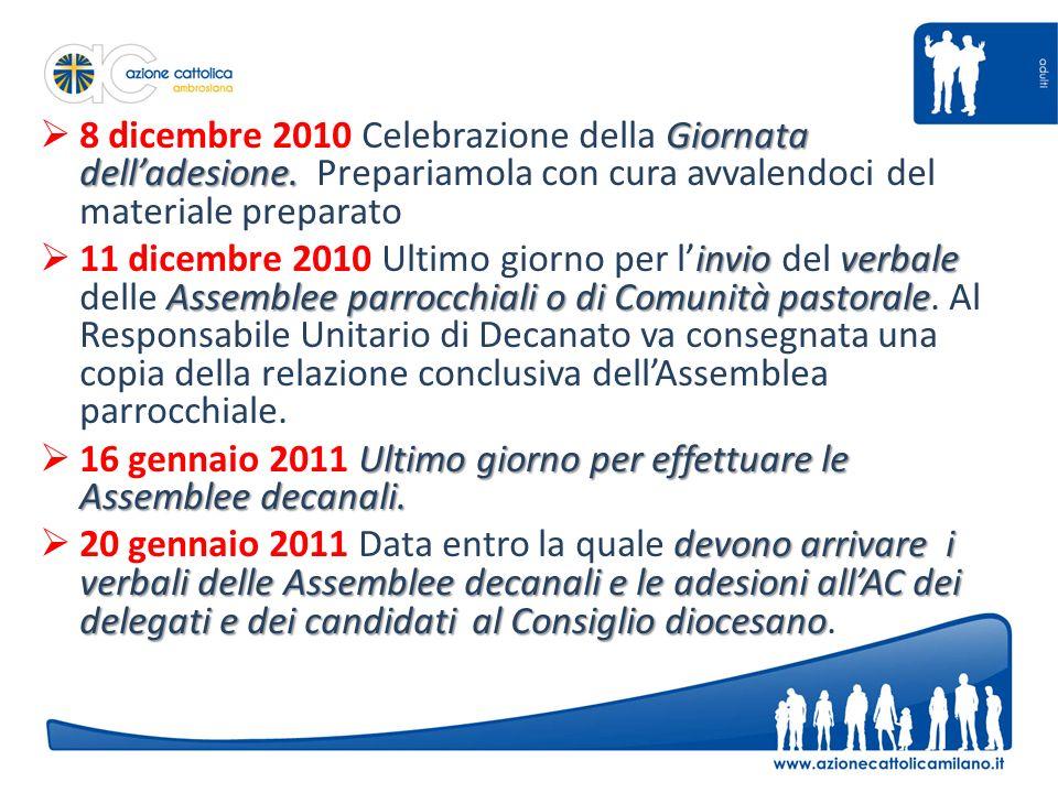 Giornata delladesione. 8 dicembre 2010 Celebrazione della Giornata delladesione.