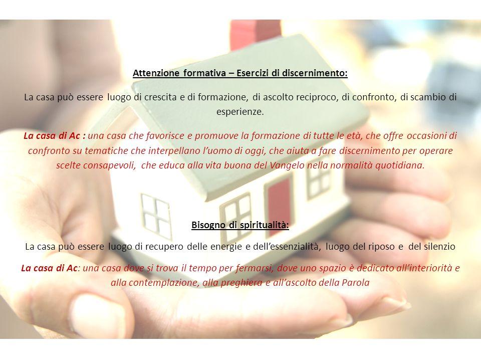 Attenzione formativa – Esercizi di discernimento: La casa può essere luogo di crescita e di formazione, di ascolto reciproco, di confronto, di scambio di esperienze.