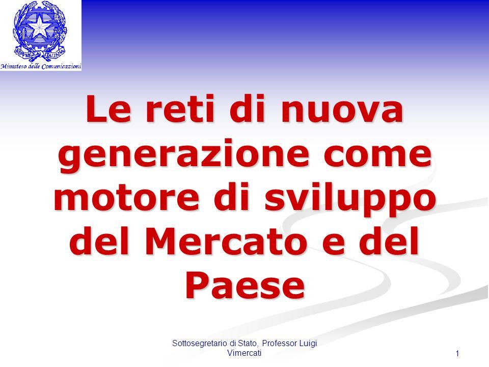 Sottosegretario di Stato, Professor Luigi Vimercati 1 Le reti di nuova generazione come motore di sviluppo del Mercato e del Paese