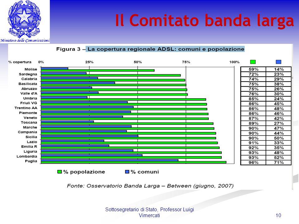 10 Sottosegretario di Stato, Professor Luigi Vimercati Il Comitato banda larga