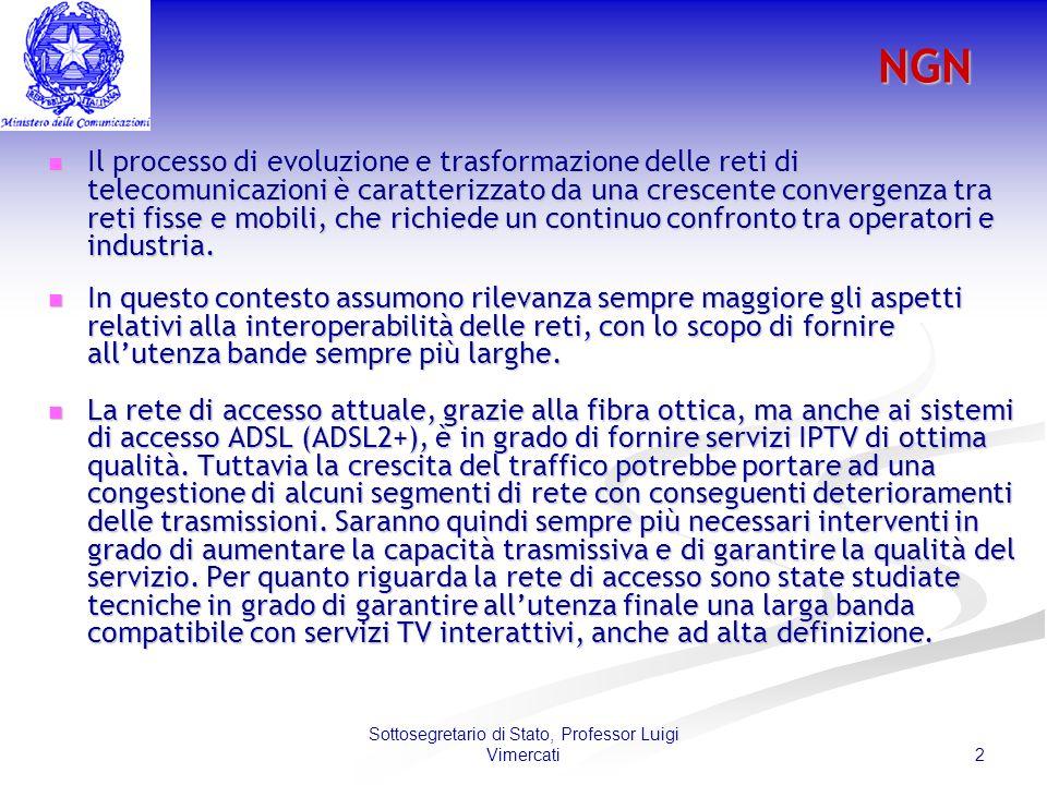 2 Sottosegretario di Stato, Professor Luigi VimercatiNGN Il processo di evoluzione e trasformazione delle reti di telecomunicazioni è caratterizzato da una crescente convergenza tra reti fisse e mobili, che richiede un continuo confronto tra operatori e industria.