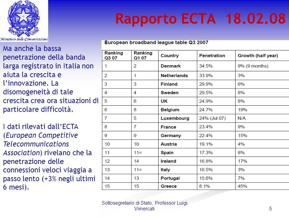 5 Sottosegretario di Stato, Professor Luigi Vimercati Rapporto ECTA 18.02.08 Ma anche la bassa penetrazione della banda larga registrato in Italia non aiuta la crescita e linnovazione.