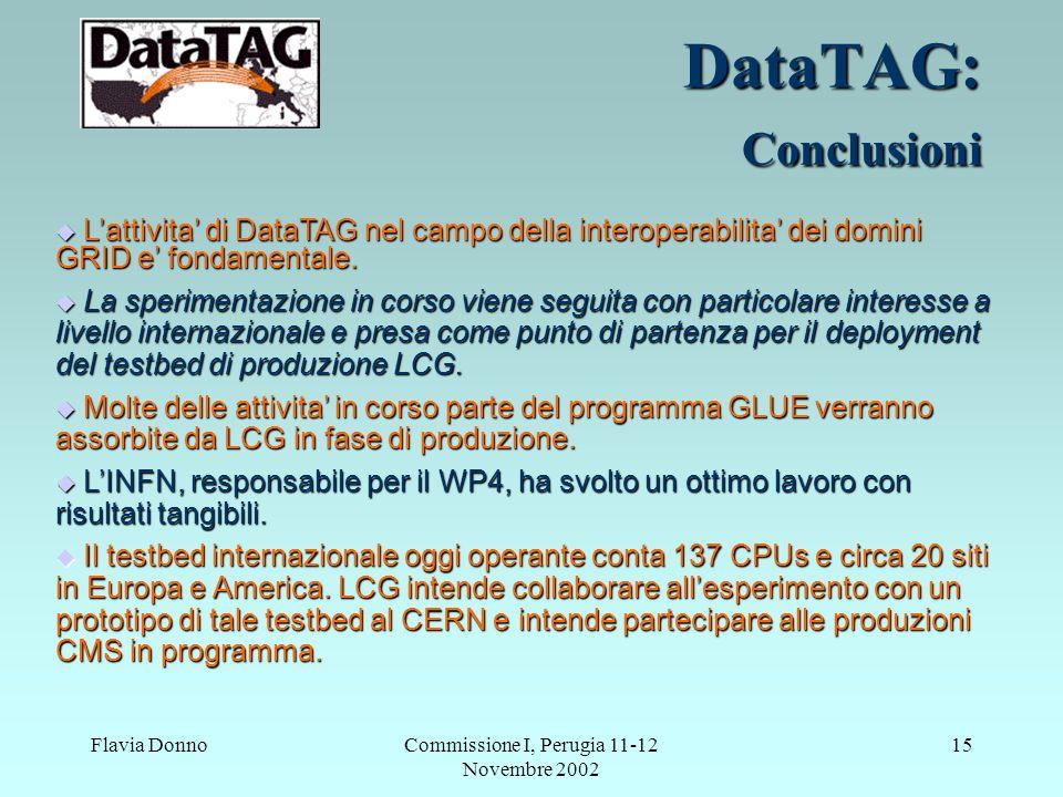 Flavia DonnoCommissione I, Perugia 11-12 Novembre 2002 15 DataTAG: Conclusioni Lattivita di DataTAG nel campo della interoperabilita dei domini GRID e fondamentale.