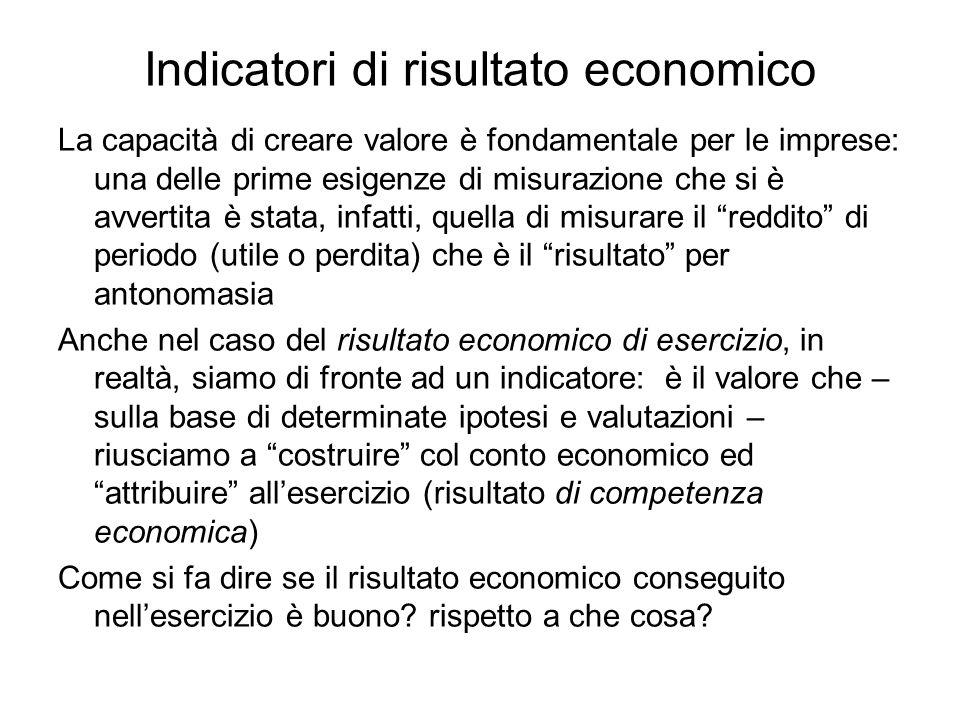 Indicatori di risultato economico La capacità di creare valore è fondamentale per le imprese: una delle prime esigenze di misurazione che si è avverti