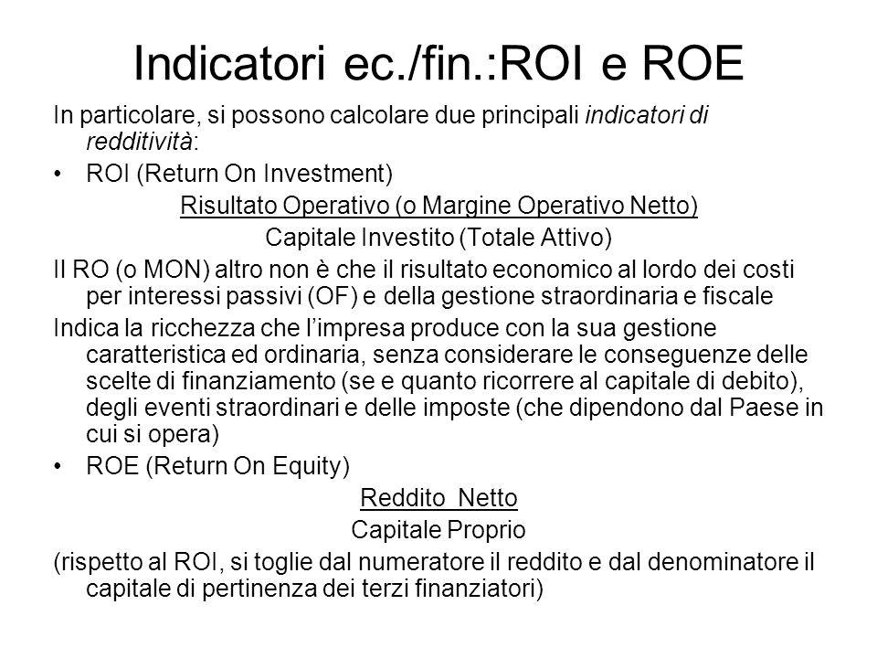 Indicatori ec./fin.:ROI e ROE In particolare, si possono calcolare due principali indicatori di redditività: ROI (Return On Investment) Risultato Oper