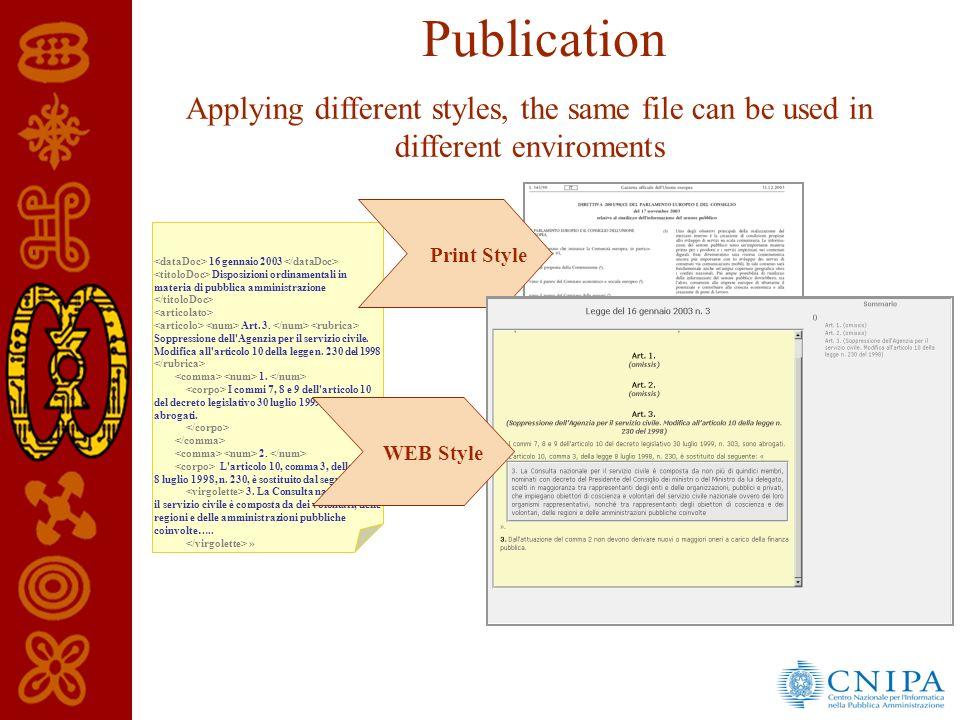 Publication Applying different styles, the same file can be used in different enviroments 16 gennaio 2003 Disposizioni ordinamentali in materia di pubblica amministrazione Art.