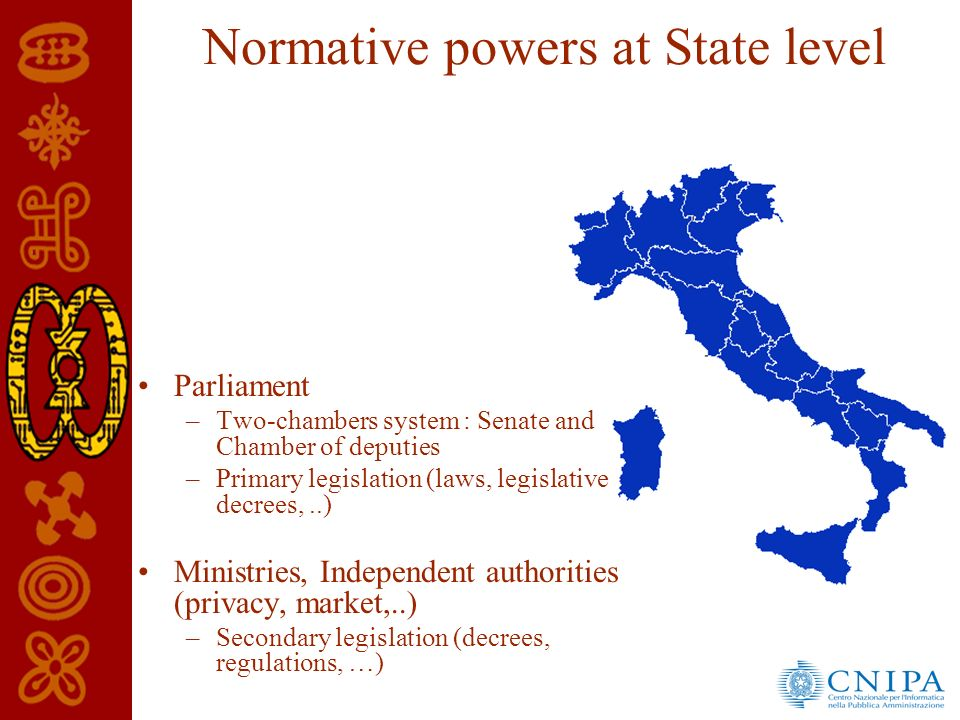 Normative powers at State level Parliament –Two-chambers system : Senate and Chamber of deputies –Primary legislation (laws, legislative decrees,..) Ministries, Independent authorities (privacy, market,..) –Secondary legislation (decrees, regulations, …)