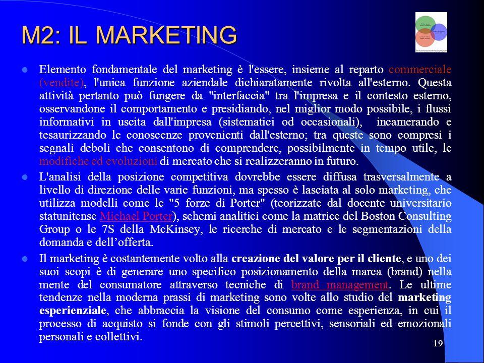 20 M2: IL MARKETING Le idee prima esposte, pur facendo parte della teoria generale del marketing, si riferiscono in particolare al marketing dei prodotti, dei beni di largo consumo.