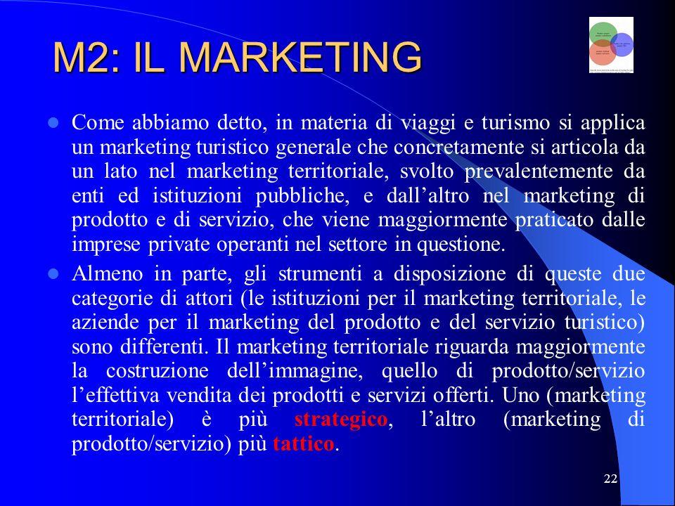 23 M2: IL MARKETING MARKETING TURISTICO MARKETING TERRITORIALE MARKETING DI PRODOTTO E SERVIZIO APPROCCIO STRATEGICO APPROCCIO TATTICO