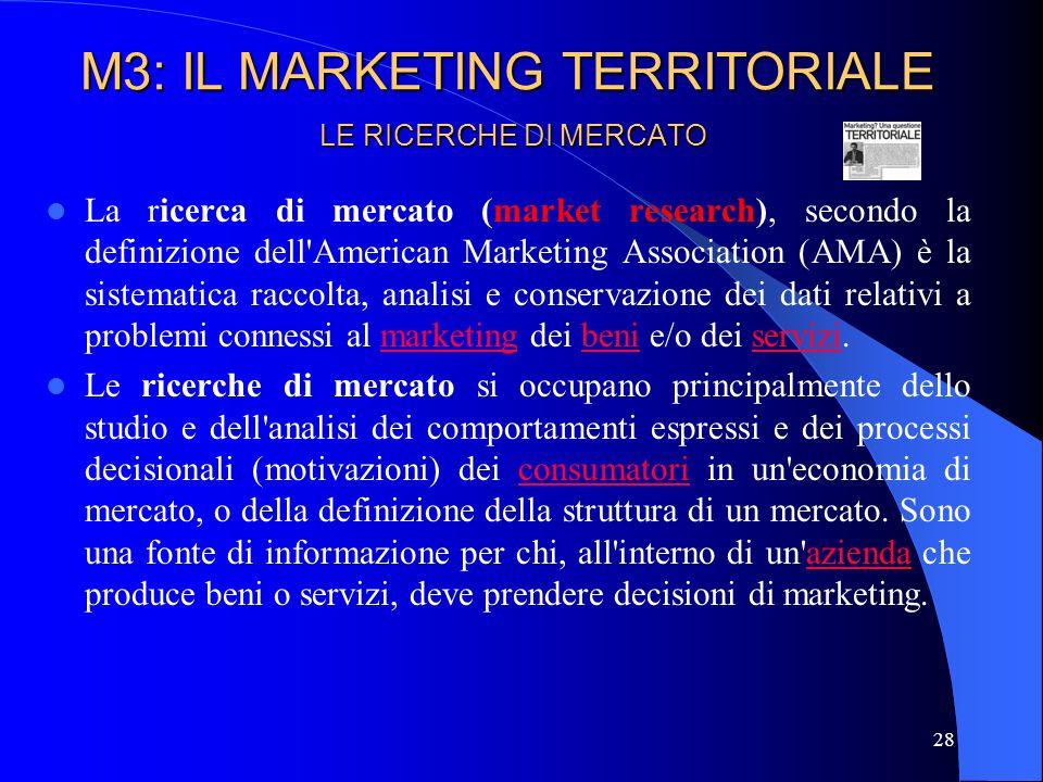 29 LE RICERCHE DI MERCATO Attraverso le ricerche di mercato, si studiano le caratteristiche sia della domanda che dellofferta, per poter disporre di una valida base informativa grazie alla quale impostare in modo più scientifico, e con minori rischi, le attività di marketing turistico.
