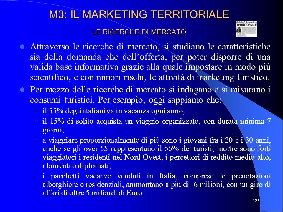 30 LE RICERCHE DI MERCATO Le ricerche di mercato ci consentono poi unaccurata conoscenza dei consumi turistici di nicchia.