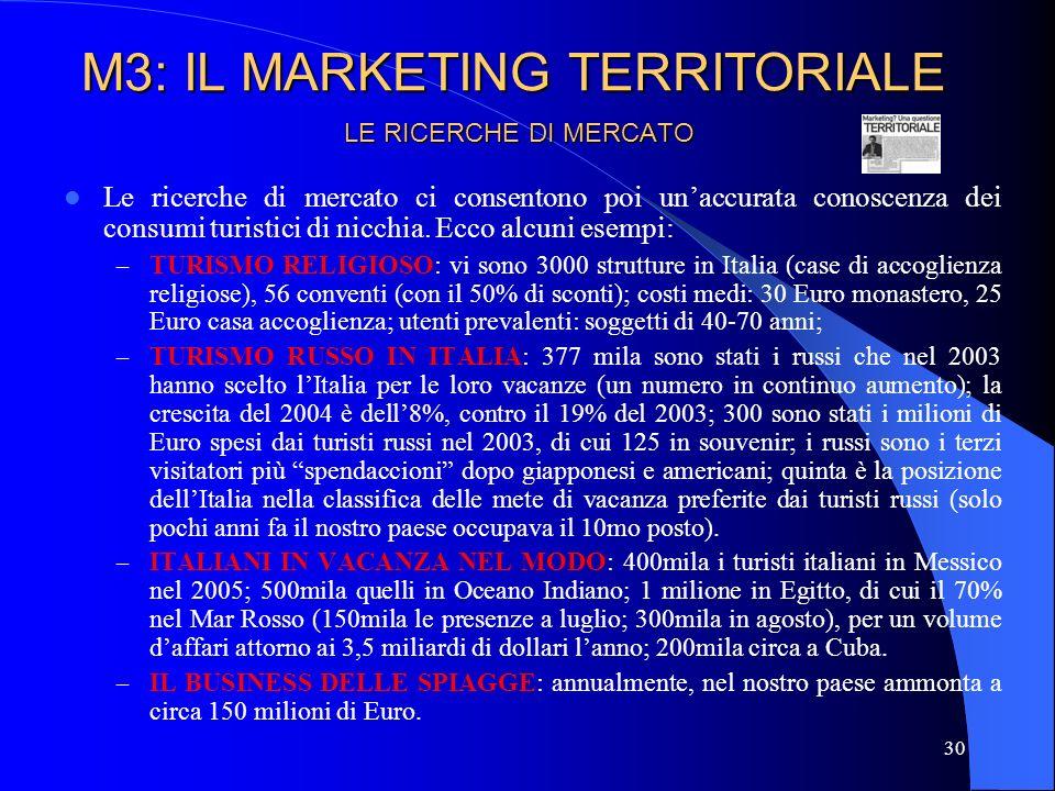 31 LE RICERCHE DI MERCATO M3: IL MARKETING TERRITORIALE