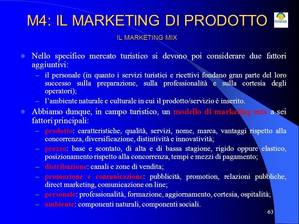 64 IL MARKETING MIX TURISTICO Prodotto Prezzo Place (distribuzione) Promozione (comunicazione pubblicitaria e attività di promotion) Personale Patrimonio ambientale M4: IL MARKETING DI PRODOTTO
