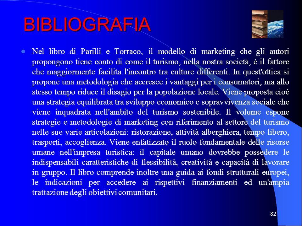 82 BIBLIOGRAFIA Nel libro di Parilli e Torraco, il modello di marketing che gli autori propongono tiene conto di come il turismo, nella nostra società