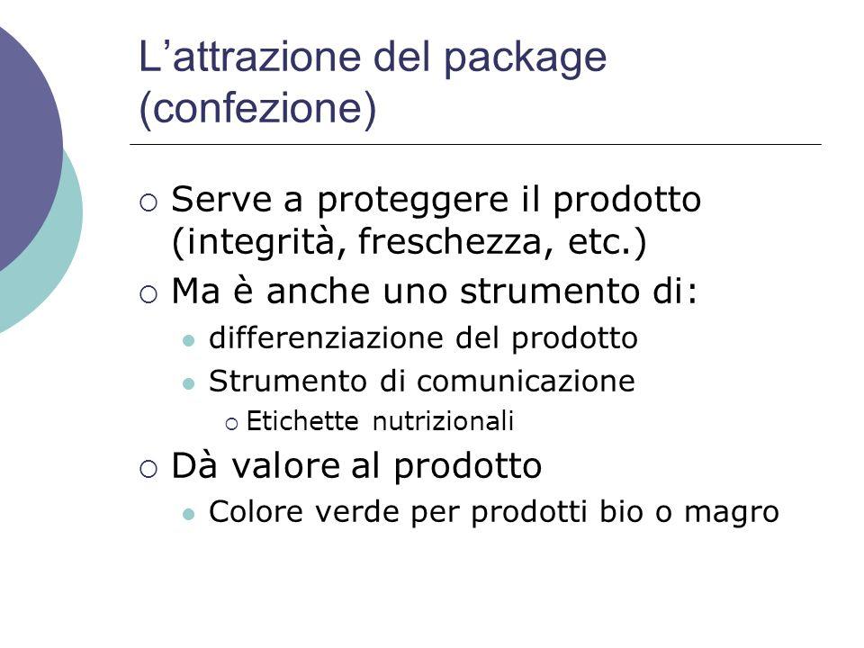 Lattrazione del package (confezione) Serve a proteggere il prodotto (integrità, freschezza, etc.) Ma è anche uno strumento di: differenziazione del pr