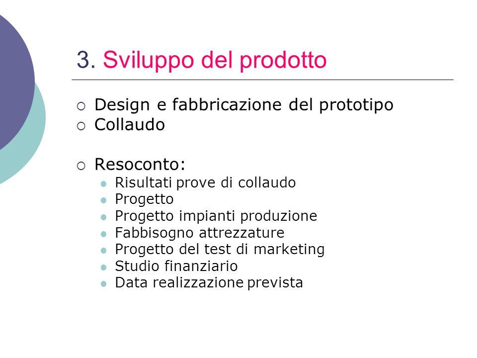 3. Sviluppo del prodotto Design e fabbricazione del prototipo Collaudo Resoconto: Risultati prove di collaudo Progetto Progetto impianti produzione Fa