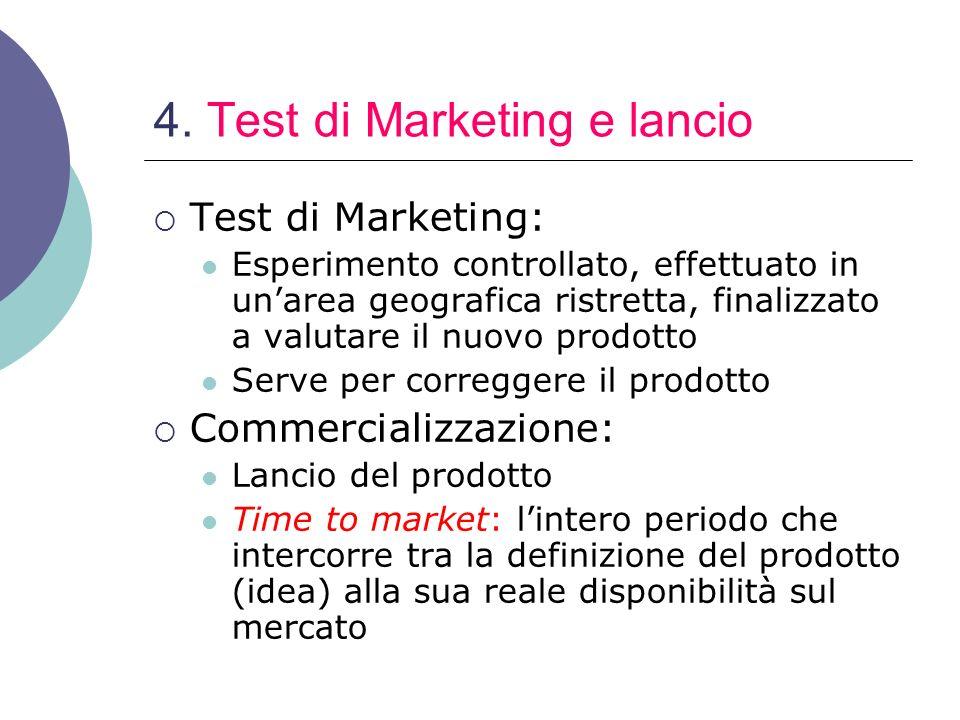 4. Test di Marketing e lancio Test di Marketing: Esperimento controllato, effettuato in unarea geografica ristretta, finalizzato a valutare il nuovo p