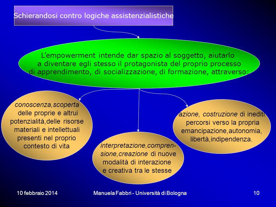 10 febbraio 2014Manuela Fabbri - Università di Bologna10 Lempowerment intende dar spazio al soggetto, aiutarlo a diventare egli stesso il protagonista