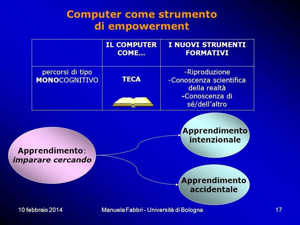 10 febbraio 2014Manuela Fabbri - Università di Bologna17 IL COMPUTER COME… I NUOVI STRUMENTI FORMATIVI percorsi di tipo MONOCOGNITIVO TECA -Riproduzio