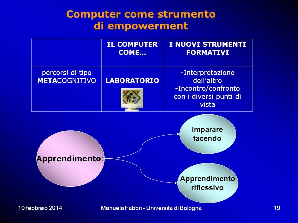 10 febbraio 2014Manuela Fabbri - Università di Bologna19 IL COMPUTER COME… I NUOVI STRUMENTI FORMATIVI percorsi di tipo METACOGNITIVOLABORATORIO -Inte