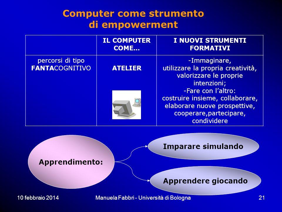10 febbraio 2014Manuela Fabbri - Università di Bologna21 IL COMPUTER COME… I NUOVI STRUMENTI FORMATIVI percorsi di tipo FANTACOGNITIVOATELIER -Immaginare, utilizzare la propria creatività, valorizzare le proprie intenzioni; -Fare con laltro: costruire insieme, collaborare, elaborare nuove prospettive, cooperare,partecipare, condividere Apprendimento: Imparare simulando Apprendere giocando Computer come strumento di empowerment