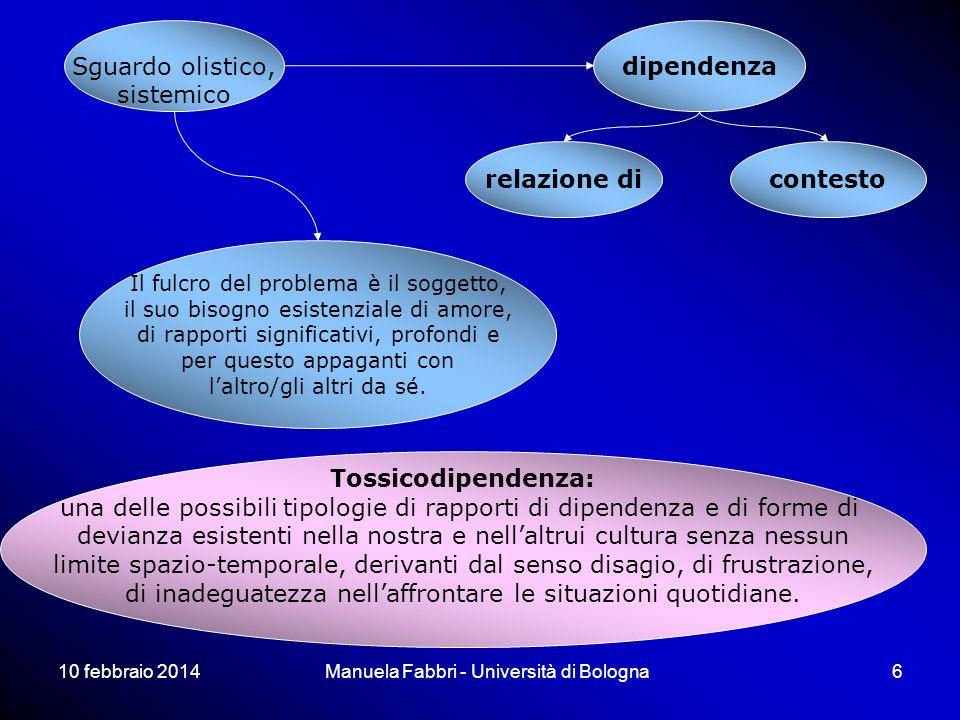 10 febbraio 2014Manuela Fabbri - Università di Bologna6 Sguardo olistico, sistemico relazione dicontesto dipendenza Tossicodipendenza: una delle possi