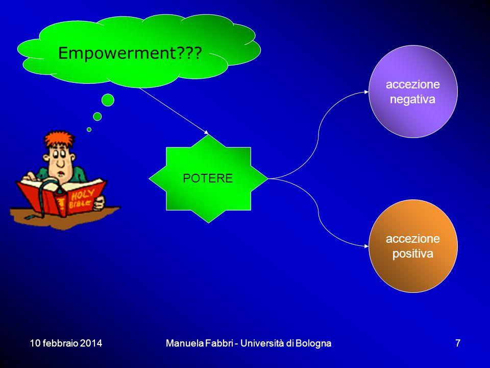 10 febbraio 2014Manuela Fabbri - Università di Bologna7 Empowerment??? POTERE accezione negativa accezione positiva