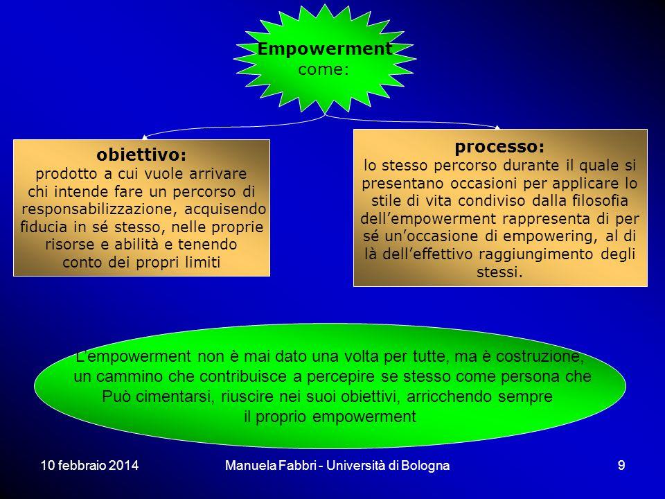 10 febbraio 2014Manuela Fabbri - Università di Bologna9 Empowerment come: obiettivo: prodotto a cui vuole arrivare chi intende fare un percorso di res