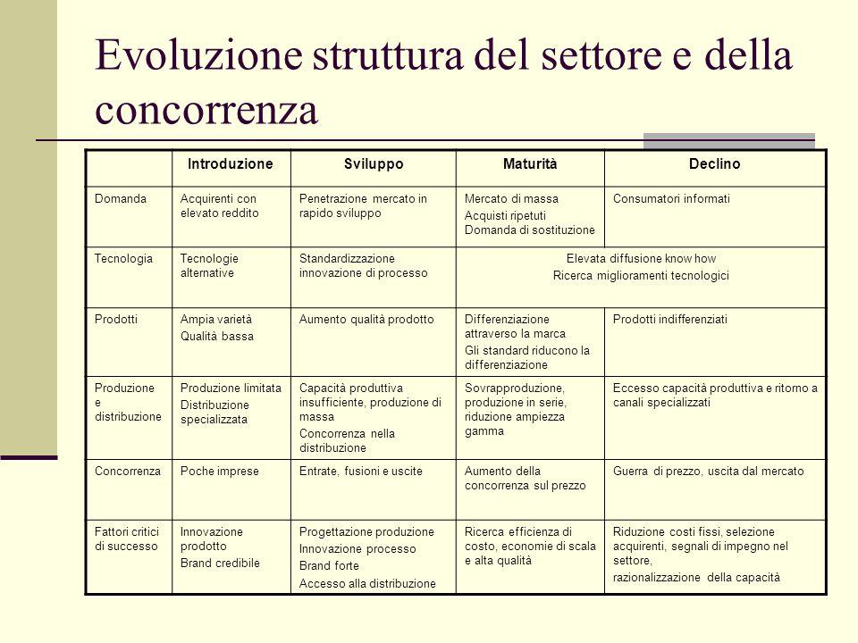 Evoluzione struttura del settore e della concorrenza IntroduzioneSviluppoMaturitàDeclino DomandaAcquirenti con elevato reddito Penetrazione mercato in