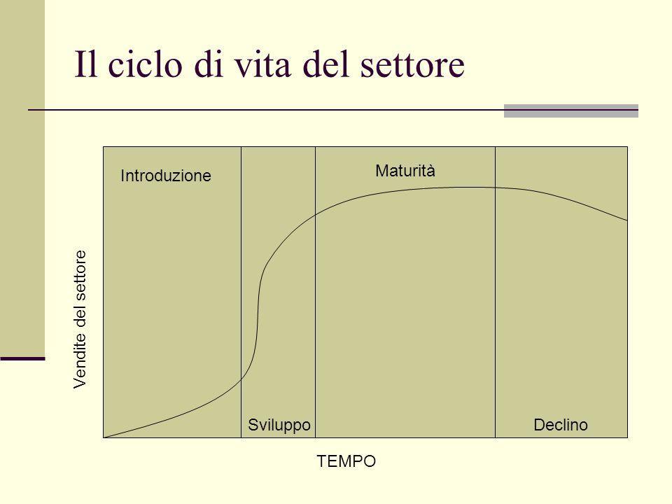 Il ciclo di vita del settore TEMPO Vendite del settore Introduzione Sviluppo Maturità Declino