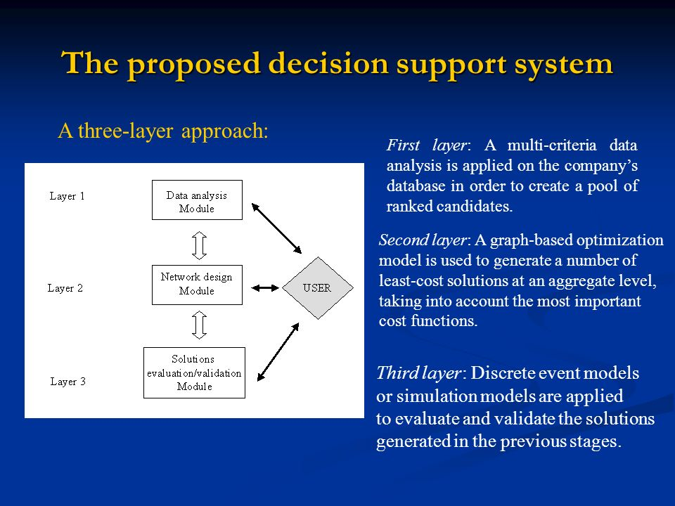 The proposed decision support system A three-layer approach: First layer: A multi-criteria data analysis is applied on the companys database in order