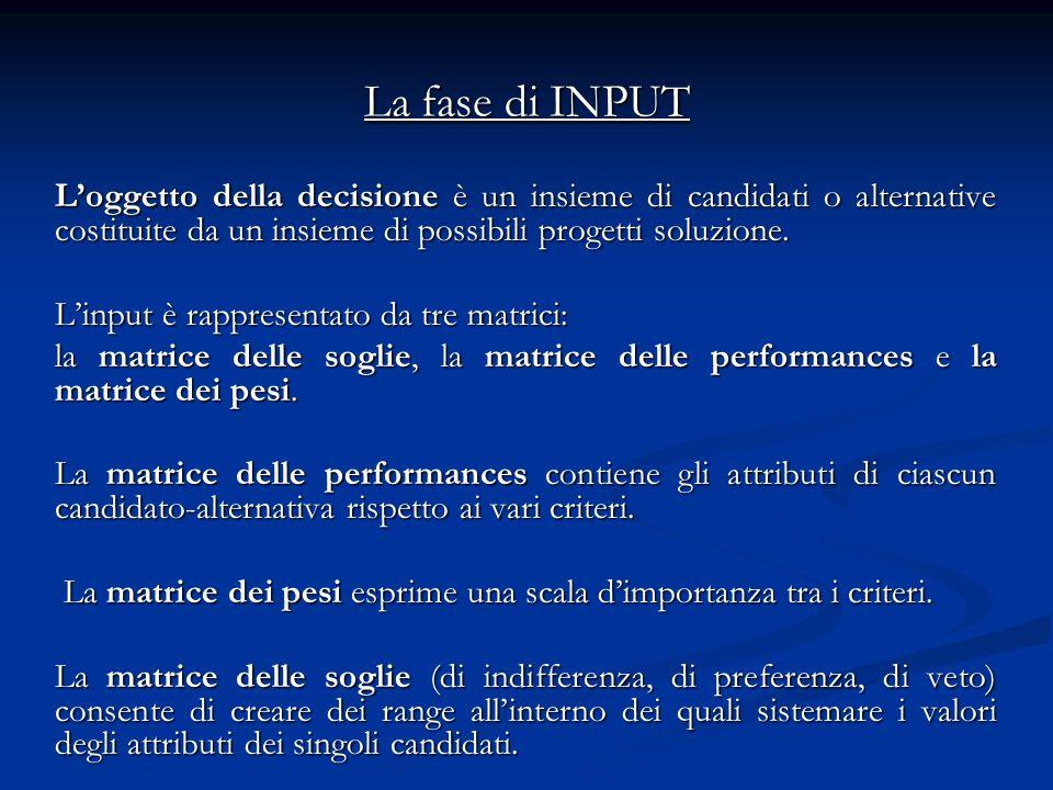 La fase di INPUT Loggetto della decisione è un insieme di candidati o alternative costituite da un insieme di possibili progetti soluzione. Linput è r