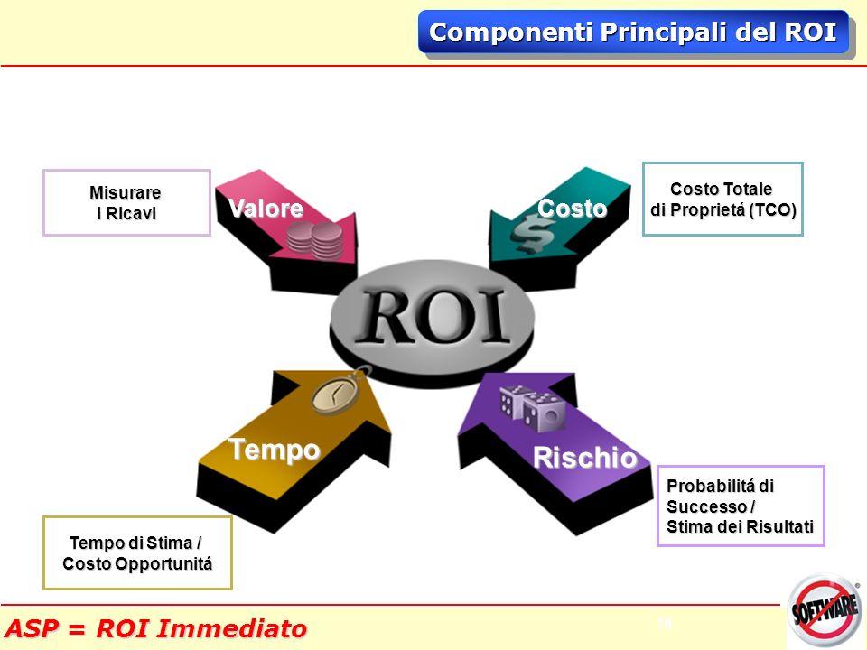 16 Componenti Principali del ROI Misurare i Ricavi Costo Totale di Proprietá (TCO) Tempo di Stima / Costo Opportunitá Probabilitá di Successo / Stima dei Risultati Rischio Tempo Valore Costo ASP = ROI Immediato