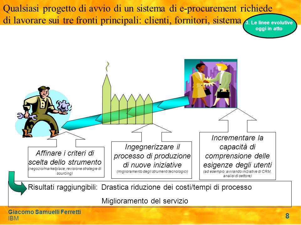8 Qualsiasi progetto di avvio di un sistema di e-procurement richiede di lavorare sui tre fronti principali: clienti, fornitori, sistema Ingegnerizzare il processo di produzione di nuove iniziative (miglioramento degli strumenti tecnologici) Incrementare la capacità di comprensione delle esigenze degli utenti (ad esempio, avviando iniziative di CRM, analisi di settore) Affinare i criteri di scelta dello strumento (negozio/marketplace, revisione strategie di sourcing) Risultati raggiungibili: Drastica riduzione dei costi/tempi di processo Miglioramento del servizio 3.