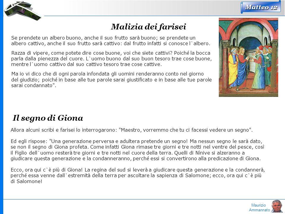 Maurizio Ammannato Matteo 12 Malizia dei farisei Se prendete un albero buono, anche il suo frutto sar à buono; se prendete un albero cattivo, anche il