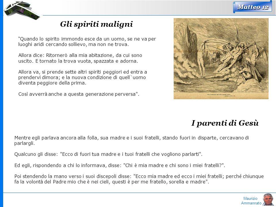 Maurizio Ammannato Matteo 12 Gli spiriti maligni Quando lo spirito immondo esce da un uomo, se ne va per luoghi aridi cercando sollievo, ma non ne tro