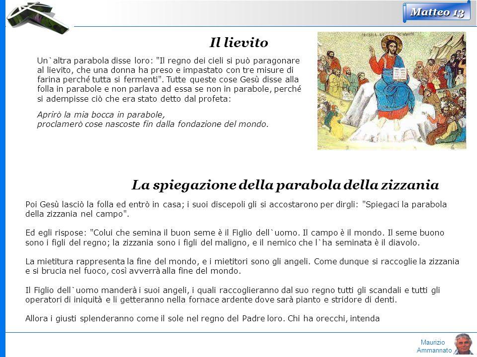 Maurizio Ammannato Matteo 13 Il lievito Un`altra parabola disse loro:
