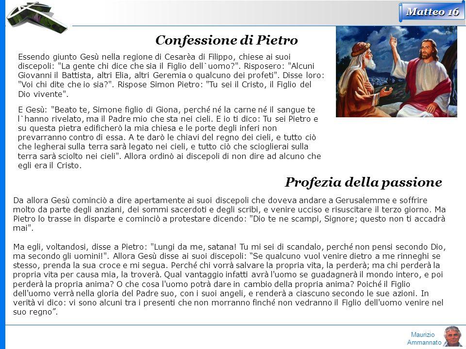 Maurizio Ammannato Matteo 16 Confessione di Pietro Essendo giunto Ges ù nella regione di Cesar è a di Filippo, chiese ai suoi discepoli:
