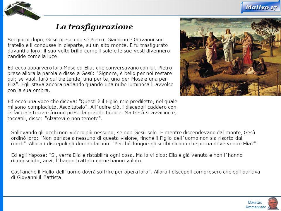 Maurizio Ammannato Matteo 17 La trasfigurazione Sei giorni dopo, Ges ù prese con s é Pietro, Giacomo e Giovanni suo fratello e li condusse in disparte