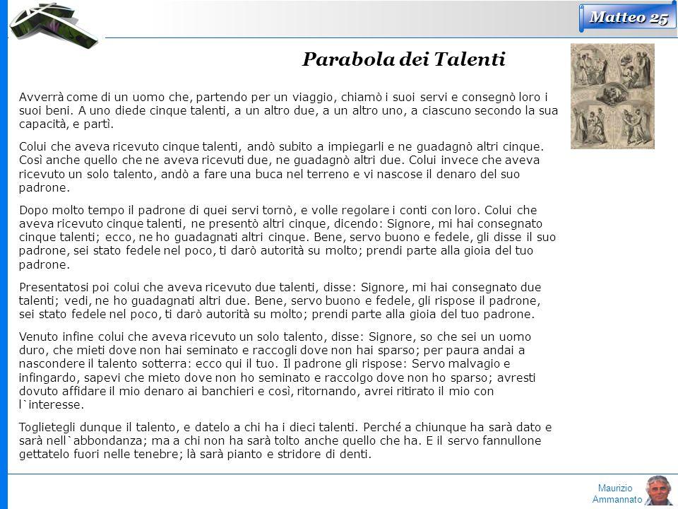 Maurizio Ammannato Parabola dei Talenti Matteo 25 Avverr à come di un uomo che, partendo per un viaggio, chiamò i suoi servi e consegnò loro i suoi be