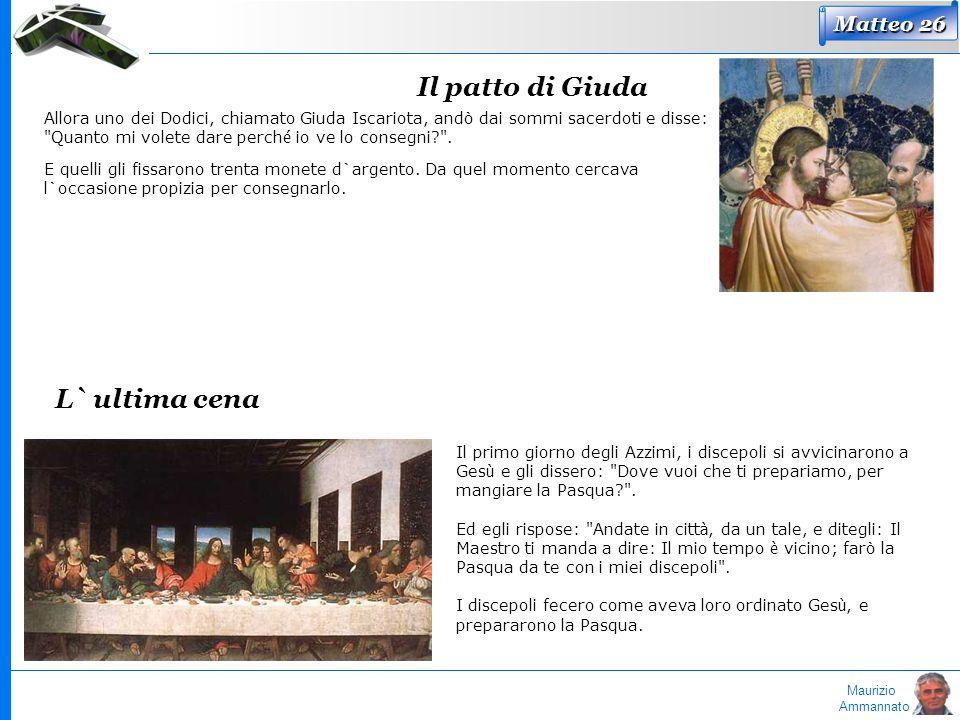 Maurizio Ammannato Matteo 26 Il patto di Giuda Allora uno dei Dodici, chiamato Giuda Iscariota, andò dai sommi sacerdoti e disse: