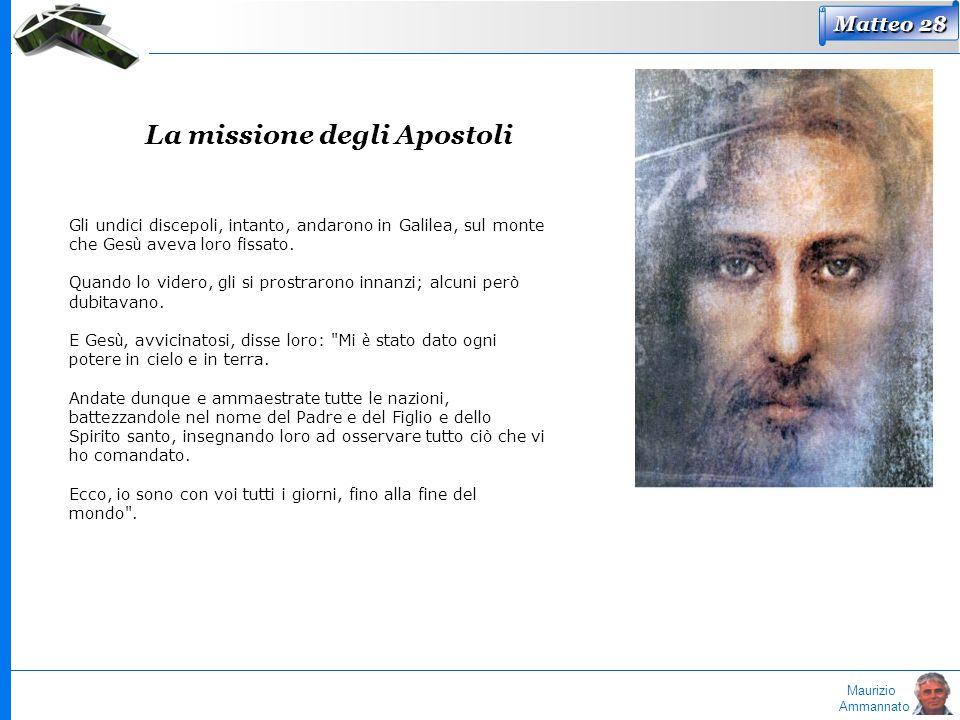 Maurizio Ammannato Matteo 28 La missione degli Apostoli Gli undici discepoli, intanto, andarono in Galilea, sul monte che Ges ù aveva loro fissato. Qu