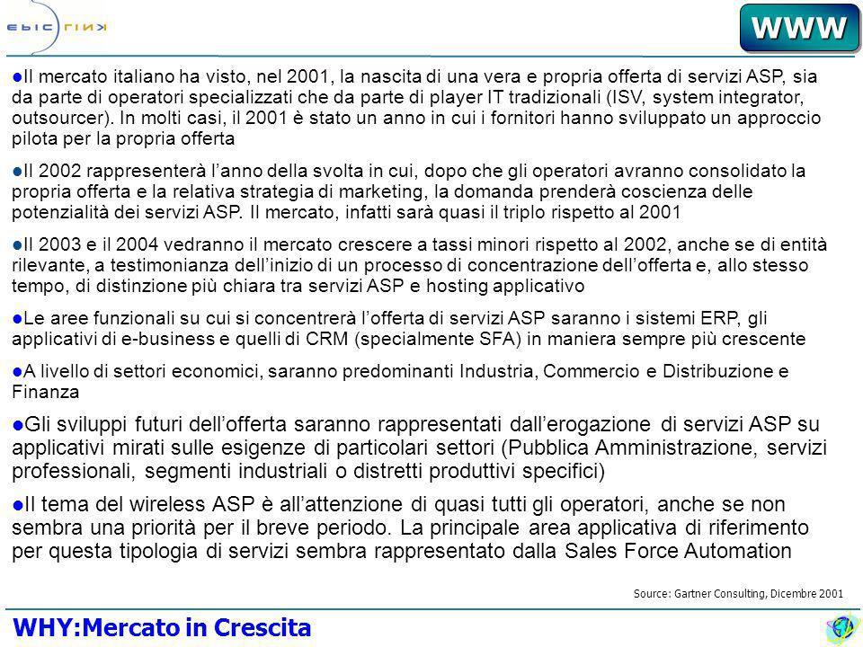 WWWWWW Il mercato italiano ha visto, nel 2001, la nascita di una vera e propria offerta di servizi ASP, sia da parte di operatori specializzati che da parte di player IT tradizionali (ISV, system integrator, outsourcer).