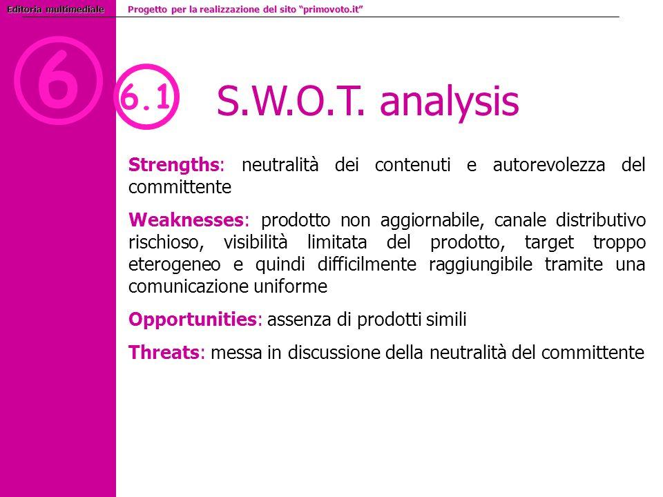 6 S.W.O.T. analysis 6.1 Strengths: neutralità dei contenuti e autorevolezza del committente Weaknesses:prodotto non aggiornabile, canale distributivo