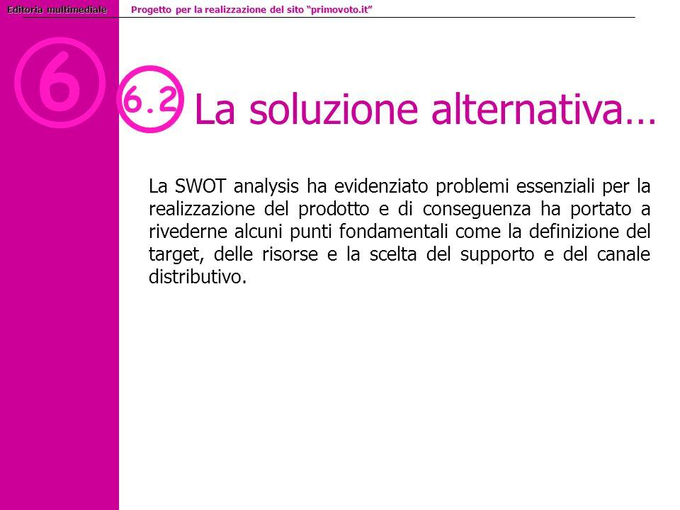 6 6.2 La soluzione alternativa… La SWOT analysis ha evidenziato problemi essenziali per la realizzazione del prodotto e di conseguenza ha portato a rivederne alcuni punti fondamentali come la definizione del target, delle risorse e la scelta del supporto e del canale distributivo.