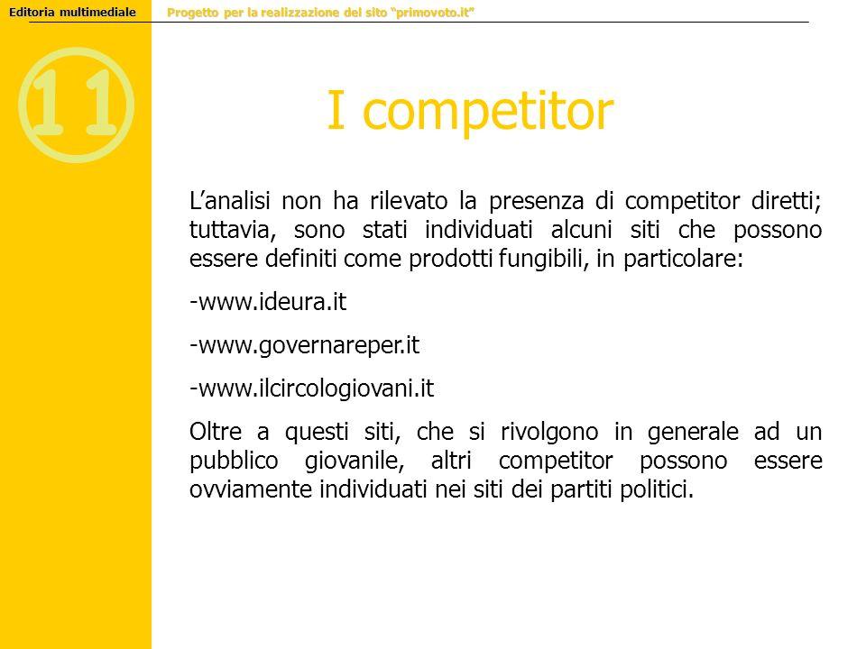 11 I competitor Lanalisi non ha rilevato la presenza di competitor diretti; tuttavia, sono stati individuati alcuni siti che possono essere definiti c