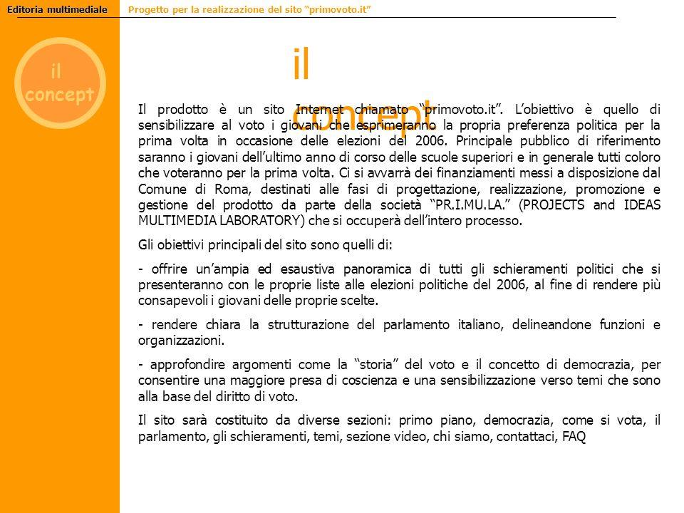 il concept il concept Editoria multimediale Editoria multimediale Progetto per la realizzazione del sito primovoto.it Il prodotto è un sito Internet chiamato primovoto.it.