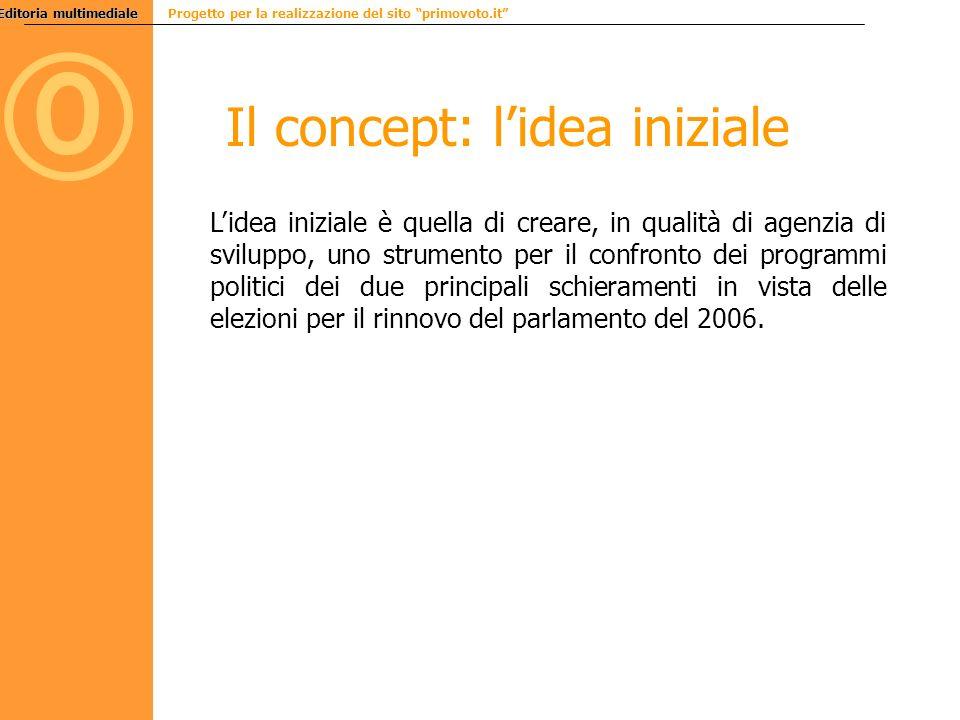 Editoria multimediale Editoria multimediale Progetto per la realizzazione del sito primovoto.it 0 Il concept: lidea iniziale Lidea iniziale è quella d