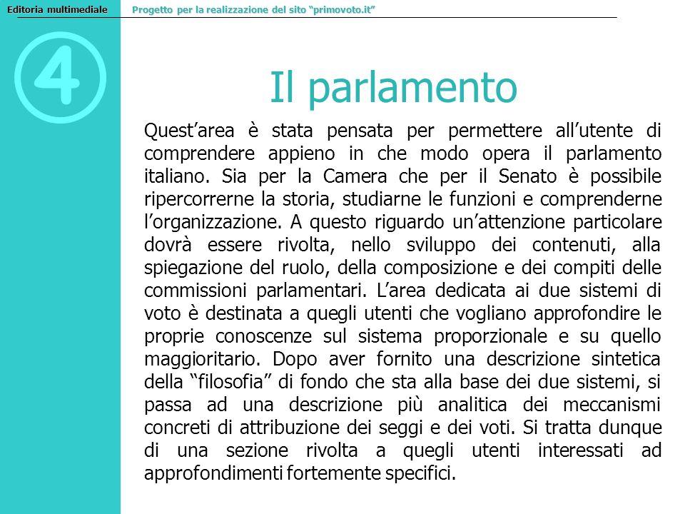4 Il parlamento Questarea è stata pensata per permettere allutente di comprendere appieno in che modo opera il parlamento italiano. Sia per la Camera